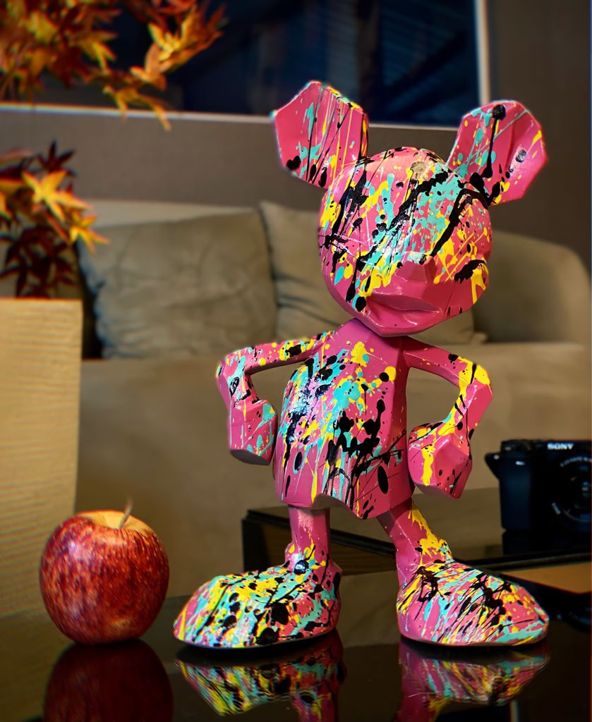 Estátua Mickey Mouse Rosa: Mickey e Minnie Mouse Disney Modern Geometric Pop Art By Russ