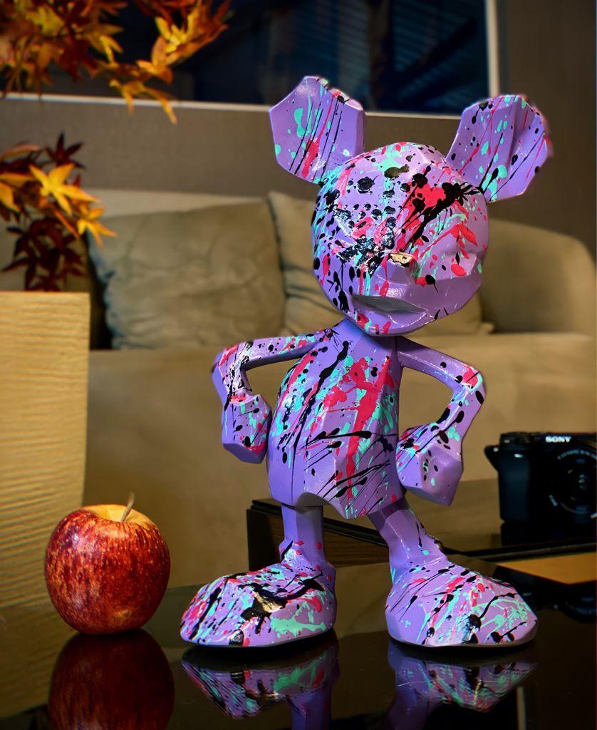 Estátua Mickey Mouse Roxo: Mickey e Minnie Mouse Disney Modern Geometric Pop Art By Russ