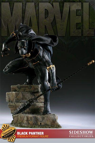 Estátua Pantera Negra Black Panther Marvel Comics Escala 1/4 Format Premium  - Sideshow Collectible - CD