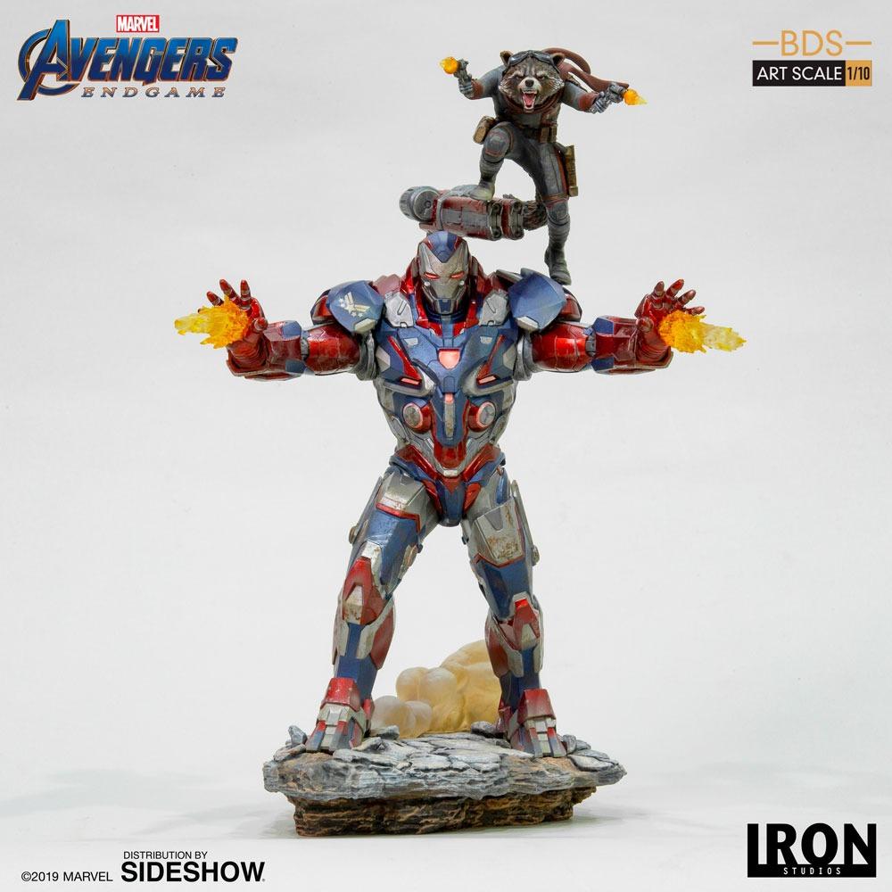 Estátua Patriota de Ferro e  Rocket Raccoon Iron Patriot Vingadores Ultimato Avengers Endgame Marvel  Escala 1/10 - Iron Studios