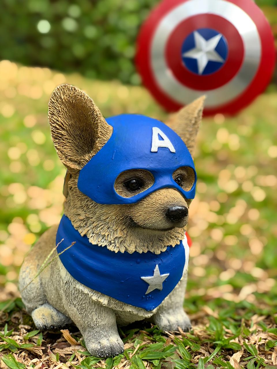 Estátua Pet Heroes Capitão América (Captain America): Vingadores (Avengers)