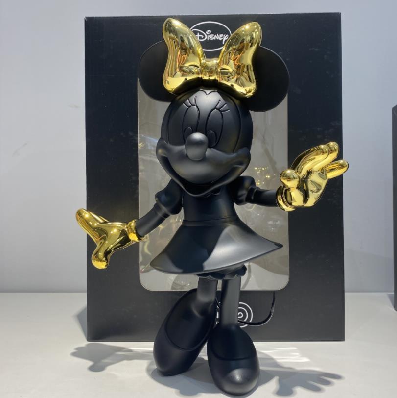 Estátua Prime Minnie Mouse: Mickey e Minnie Mouse Preto e Dourado 30cm Disney - MKP
