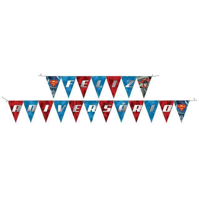 Faixa Feliz Aniversário Superman - Festcolor