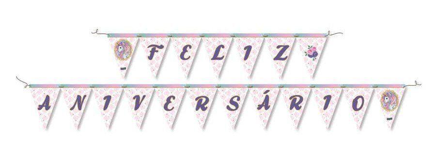 Faixa Feliz Aniversário: Unicórnio - Festcolor