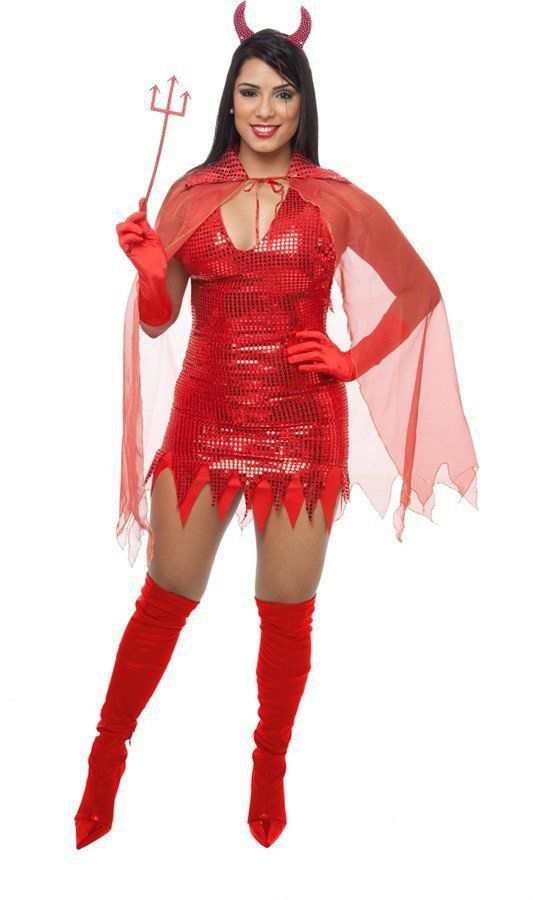 Fantasia Adulto Feminino: Diaba Vestido Paetê Vermelho