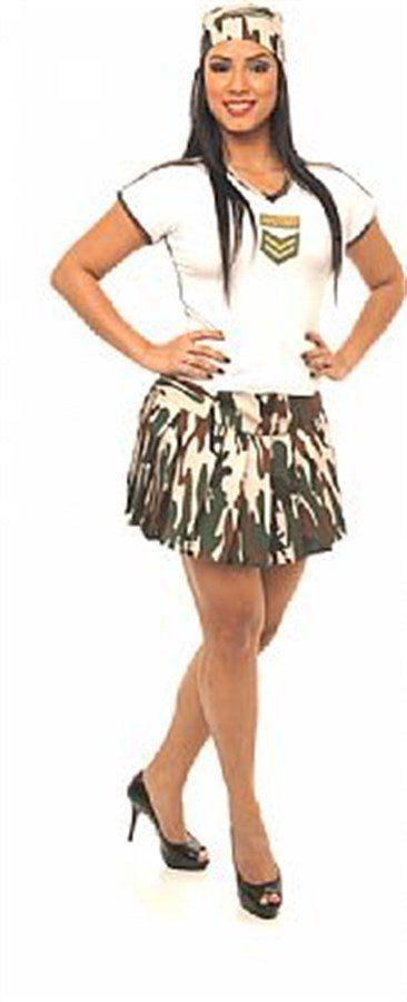 Fantasia Adulto Feminino: Militar com Saia
