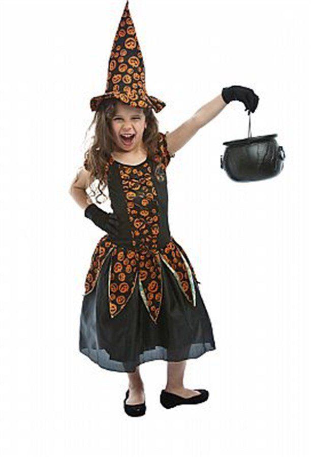 Fantasia Infantil Feminina: Bruxinha de Abóbora Estampada