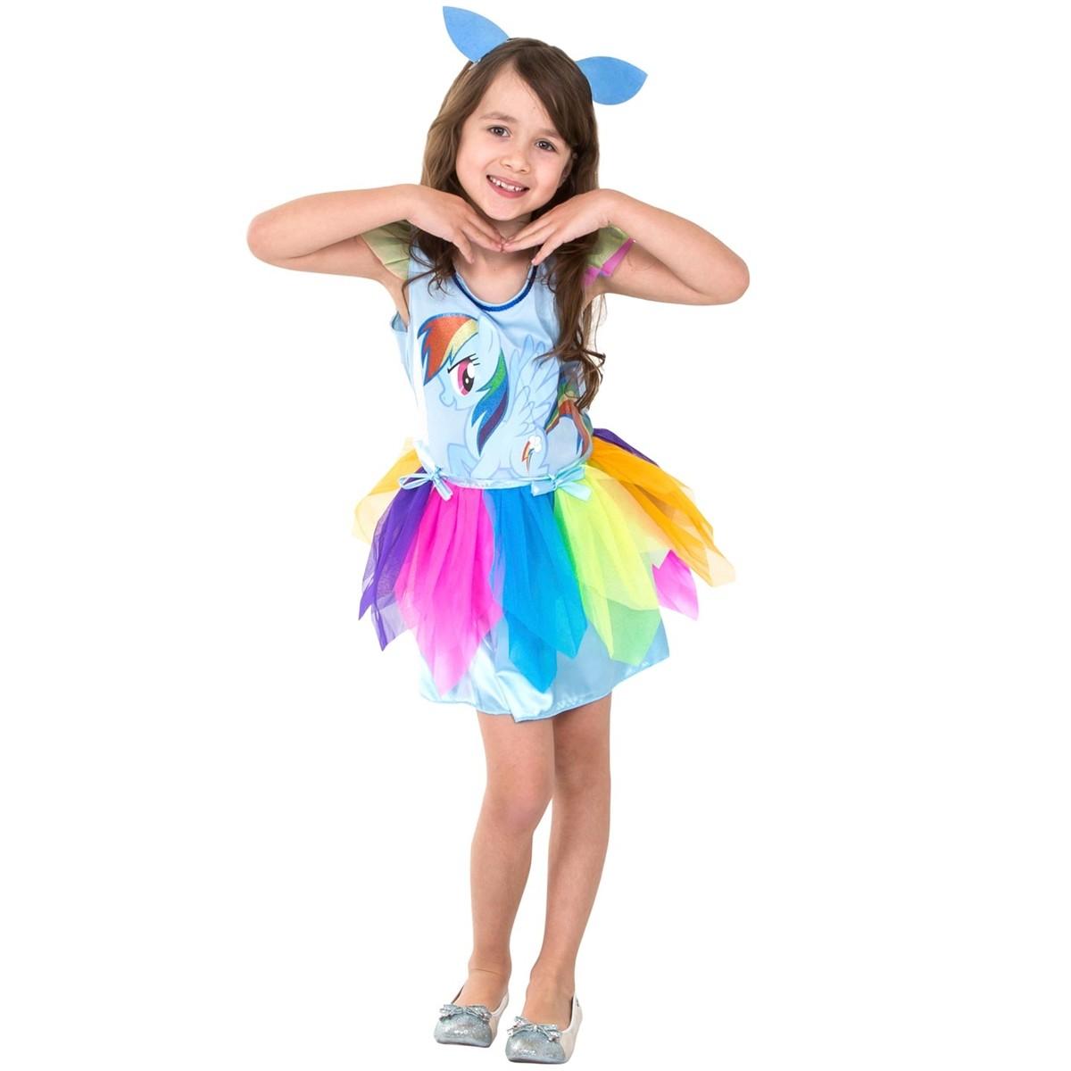 Fantasia Infantil Feminino: My Little Pony Pinkie Rainbow Dash - Rubies