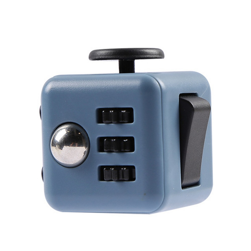 Fidget Cube Spinner Azul Escuro com Preto - Rolamento Anti Estresse Fidget Cube Spinner