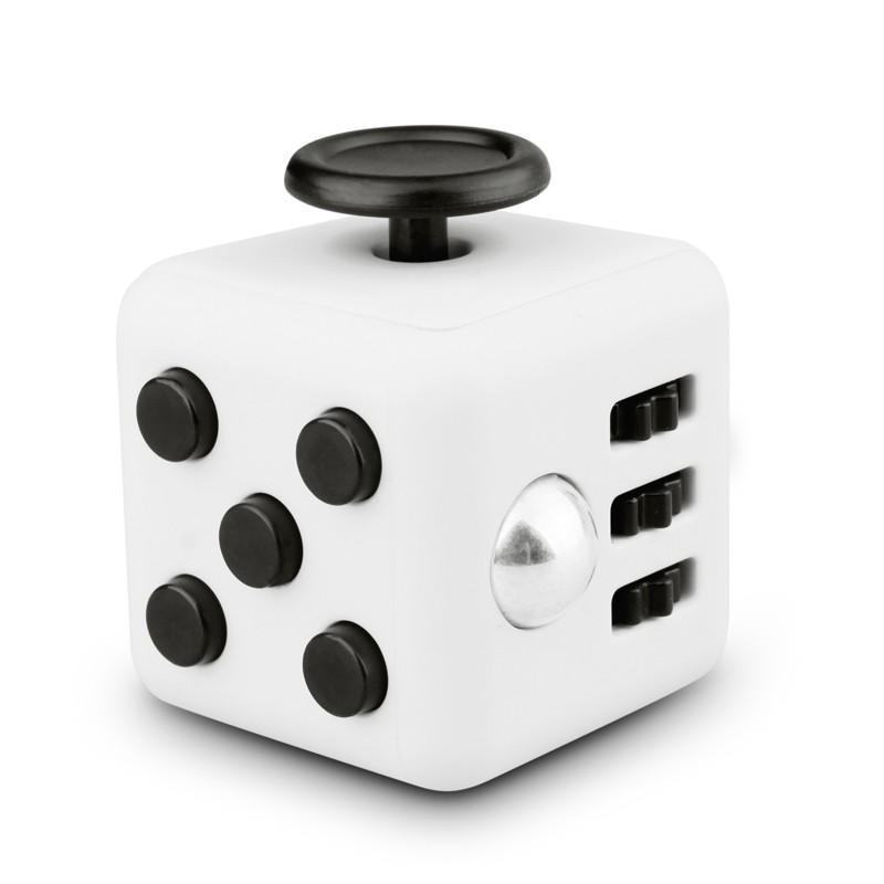 Fidget Cube Spinner Branco com Preto - Rolamento Anti Estresse Fidget Cube Spinner