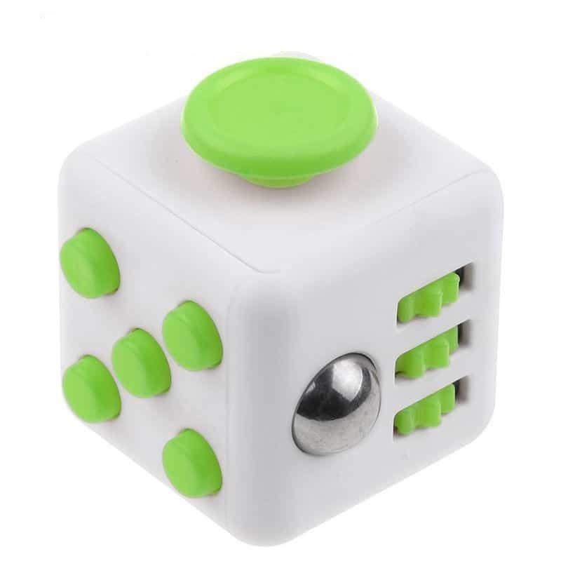 Fidget Cube Spinner Branco com Verde - Rolamento Anti Estresse Fidget Cube Spinner