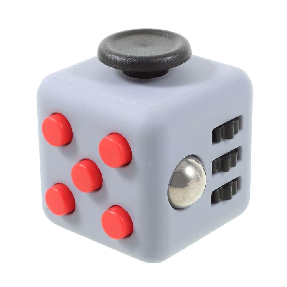 Fidget Cube Spinner Cinza com Vermelho - Rolamento Anti Estresse Fidget Cube Spinner