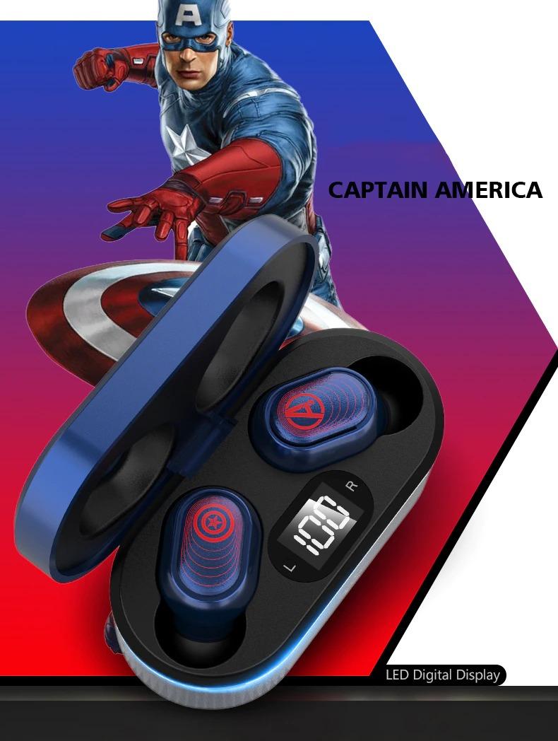 Fone de Ouvido Bluetooth 5.0 Capitão América Captain America Vingadores Ultimato Avengers Endgame Marvel Comics - EVALI