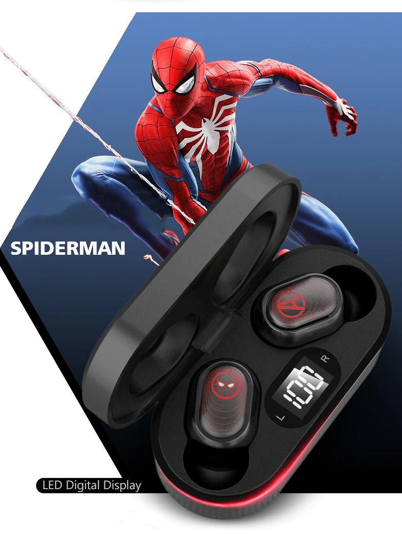 Fone de Ouvido Bluetooth 5.0 Homem-Aranha Spider-Man Vingadores Ultimato Avengers Endgame Marvel Comics - EVALI