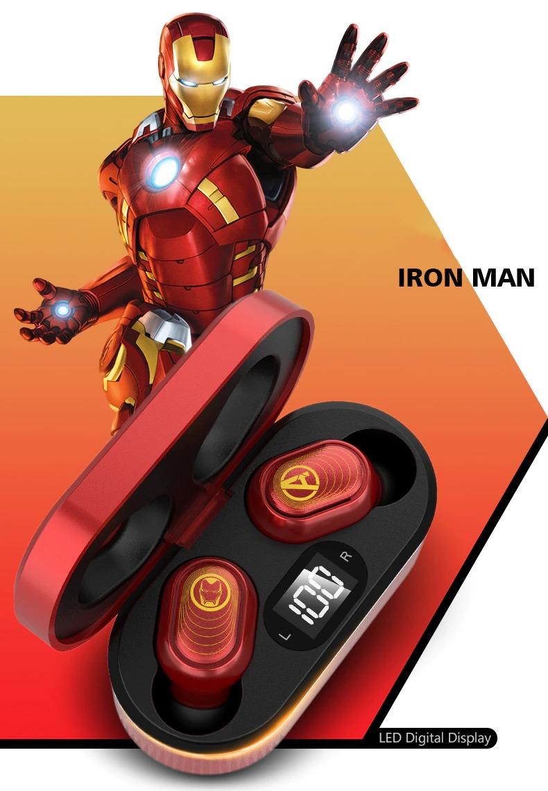 Fone de Ouvido Bluetooth 5.0 Homem de Ferro Iron Man Vingadores Ultimato Avengers Endgame Marvel Comics - EVALI