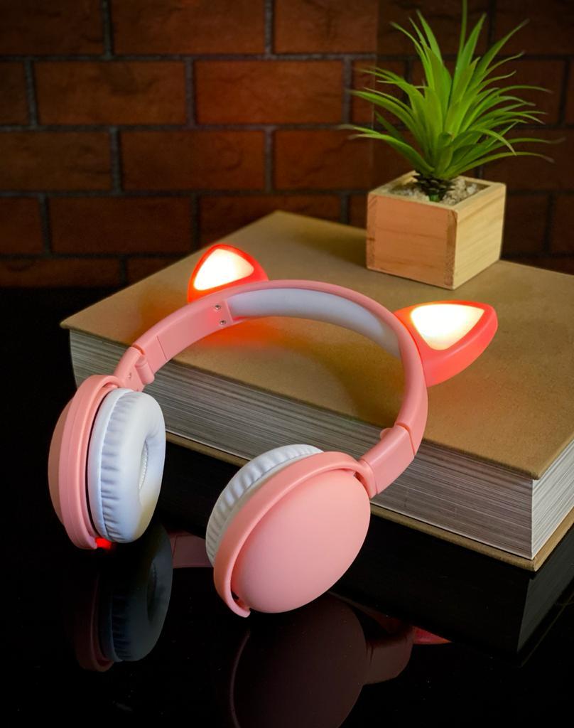 Fone de Ouvido Headphones Wireless Sem Fio Com Led Orelha de Gato - Rosa - EV