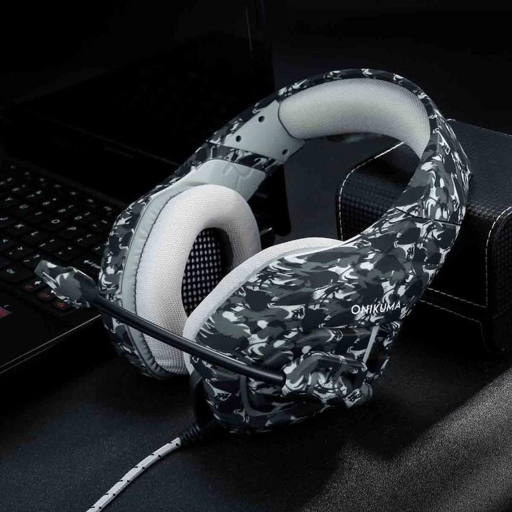 Fone Headset Gamer Profissional K18 Camuflagem Cinza - Onikuma