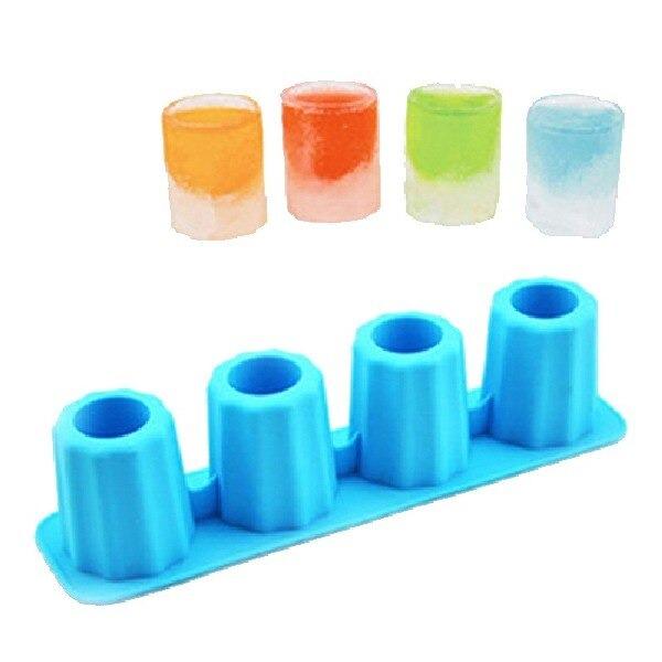 Forma de Gelo Silicone 3D Com 4 Moldes Copo Drink 4 cm