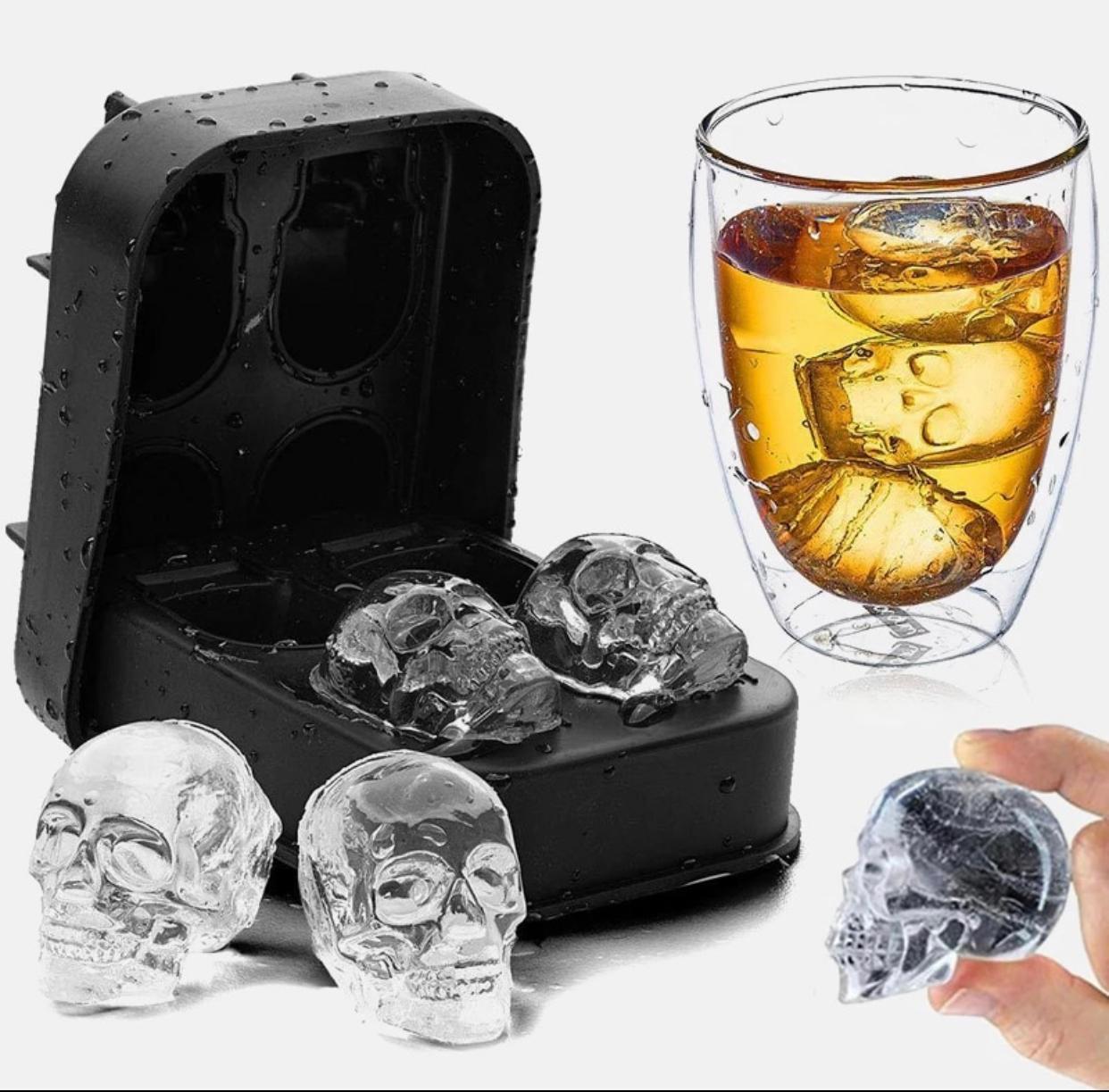 Forma de Gelo Com 4 Moldes Silicone 3D Crânio Caveira 4 cm