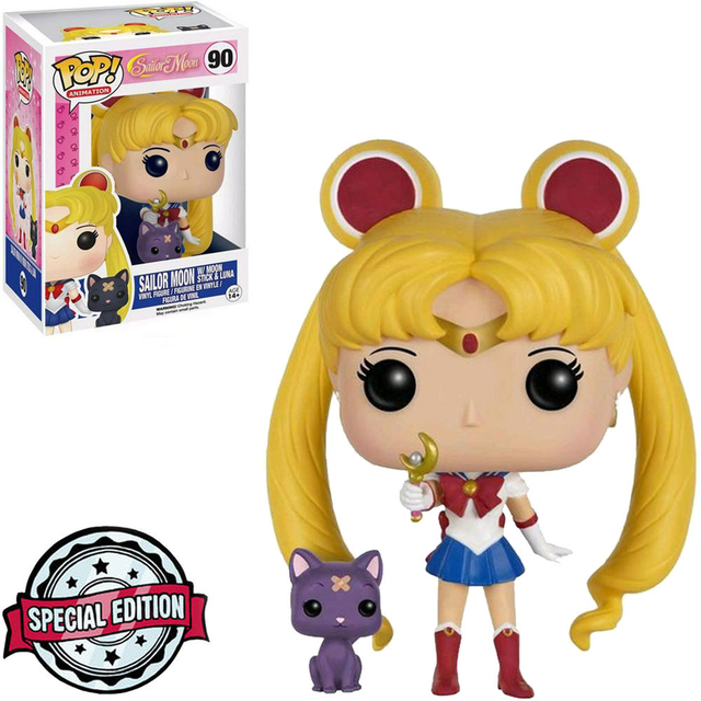 Funko Pop! Sailor Moon With Moon Stick & Luna:  Sailor Moon Exclusivo #90 - Funko