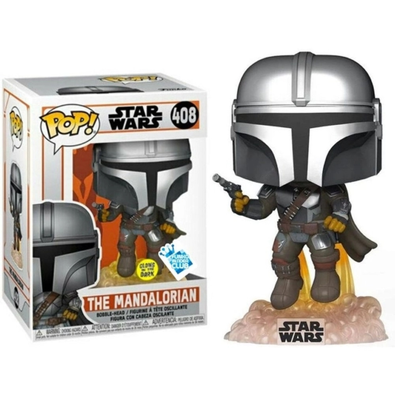 Funko Pop The Mandalorian Flyng With Blaster (Glows In The Dark): The Mandalorian #408 - Funko