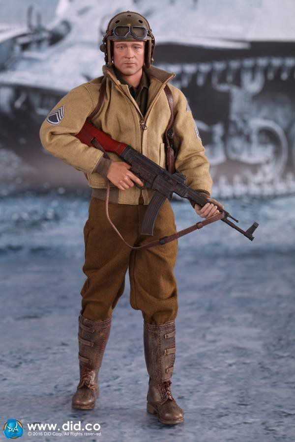 Fury Corações de Ferro: Sargento Wardaddy Escala 1/6 - DID Corporation