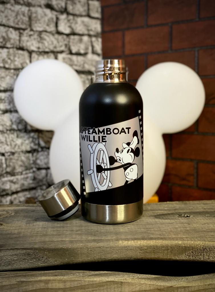 Garrafa Cantil Emborrachado Steamboat Willie Mickey Classico: Mickey Mouse Disney 400ML - Zona Criativa