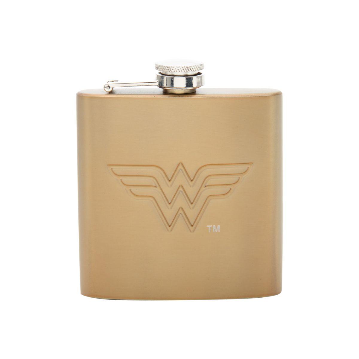 Garrafa de Bolso (Cantil) Logo Dourado Mulher-Maravilha (Wonder Woman) 170ML