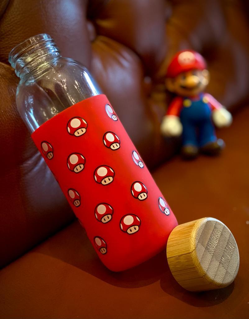 Garrafa De Vidro Eco Geek Cogumelo: Super Mario Bros 450ML - Zona Criativa