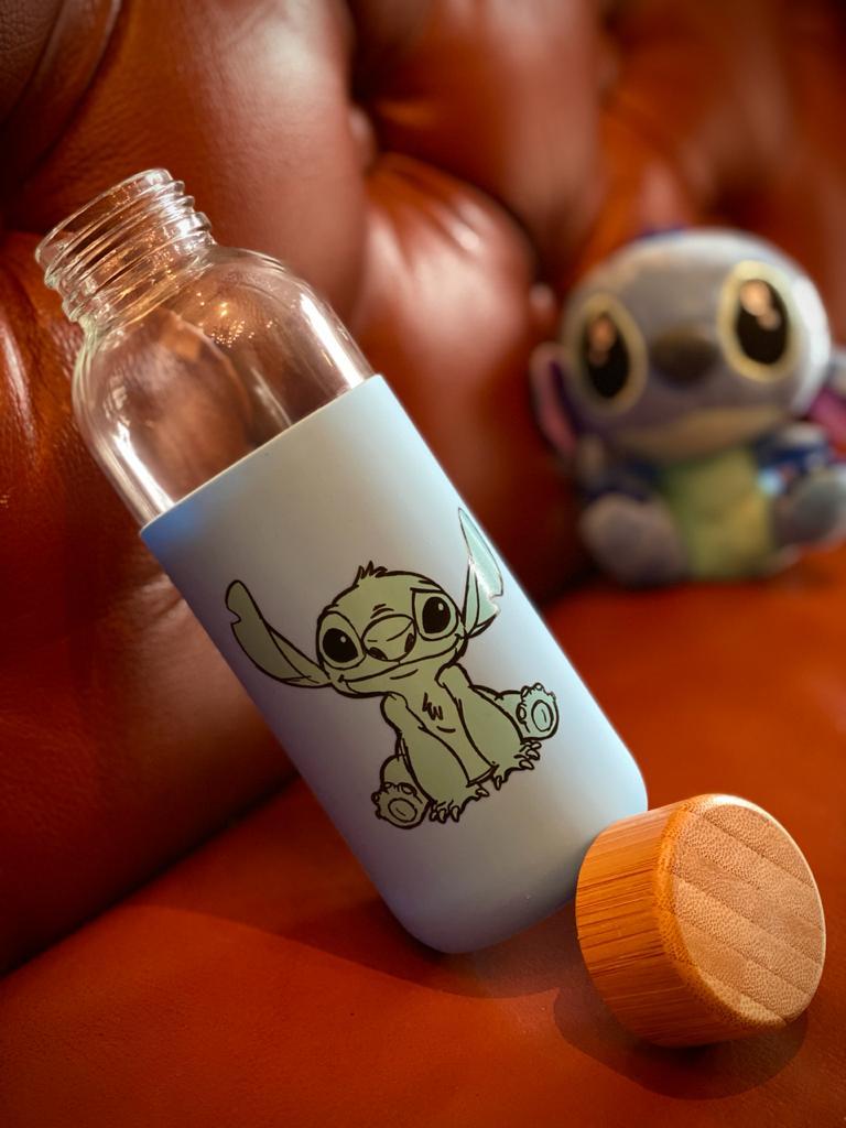 Garrafa De Vidro Eco Geek Stitch: Lilo & Stitch 450ML - Zona Criativa
