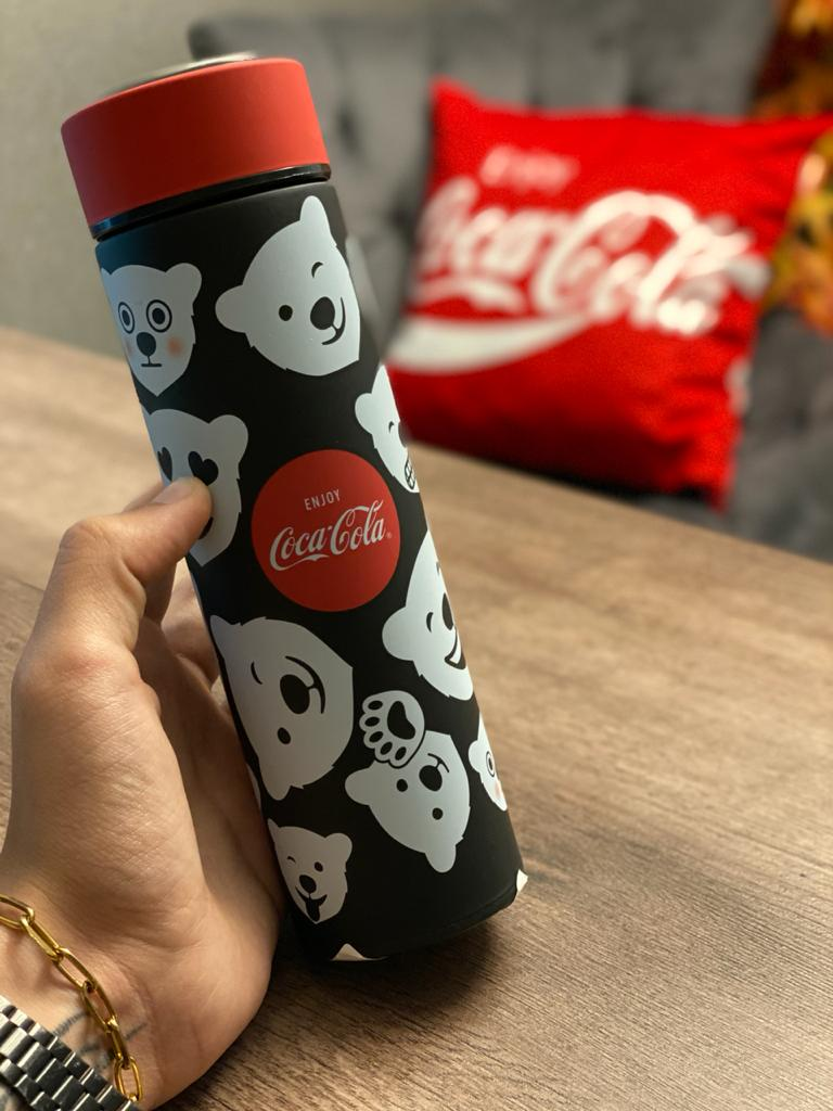 Garrafa Térmica Aço Inox Coca-Cola Urso Branco (White Bear): Preto -  500ml