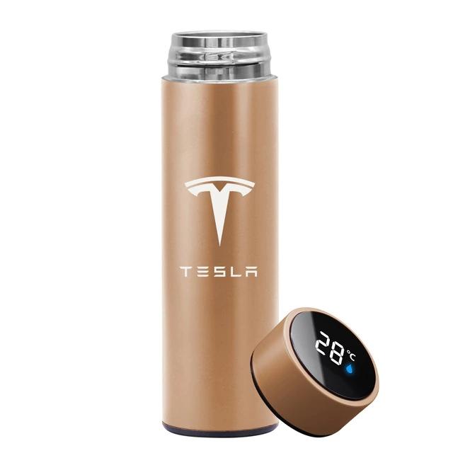 Garrafa Térmica Inteligente Display Temperatura Aço Inoxidável Tesla 500ml Dourada - EV