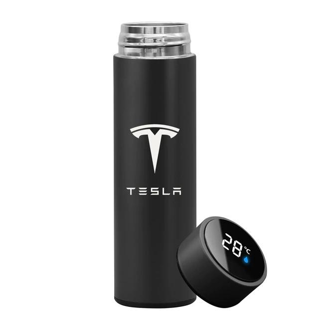 Garrafa Térmica Inteligente Display Temperatura Aço Inoxidável Tesla 500ml Preta - EV