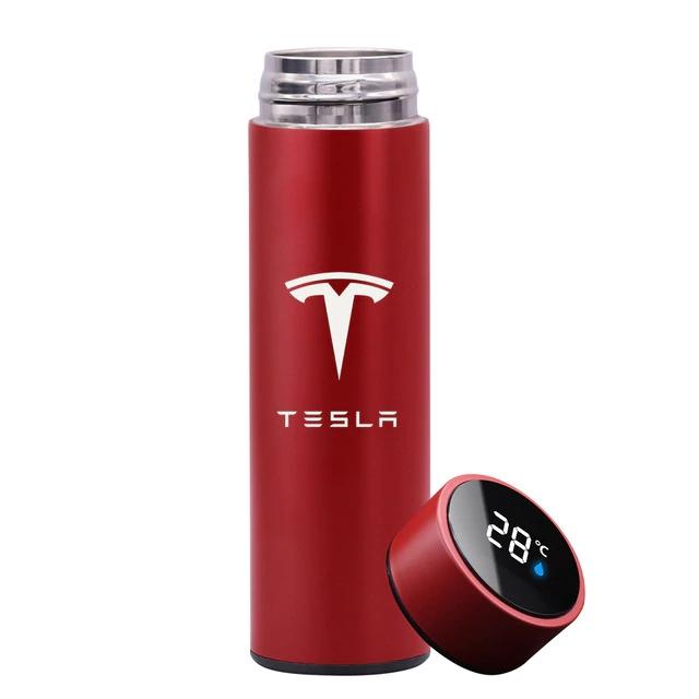 Garrafa Térmica Inteligente Display Temperatura Aço Inoxidável Tesla 500ml Vermelha - EV