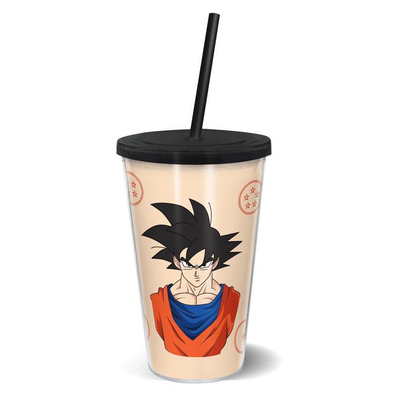 Copo Com Canudo Gira Copo Faces Goku: Dragon Ball Z - 500ML