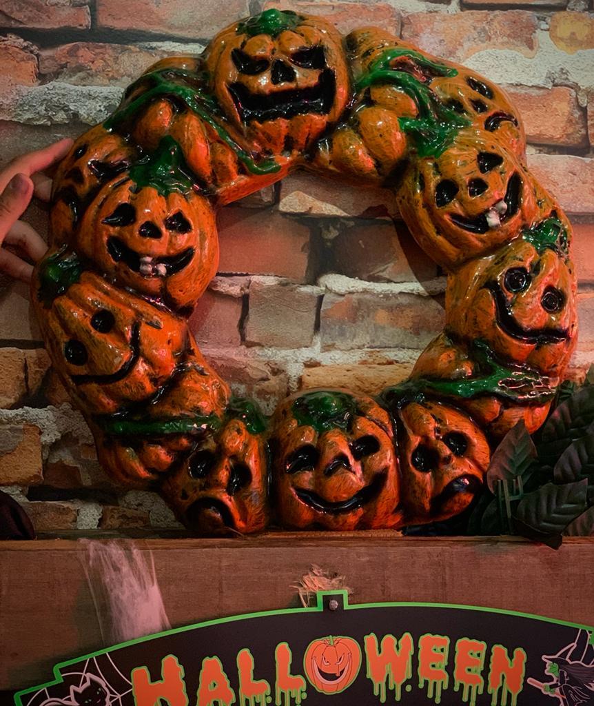 Guirlanda Decorativa 3D Abóbora Moranga: Terror Halloween Dia das Bruxas