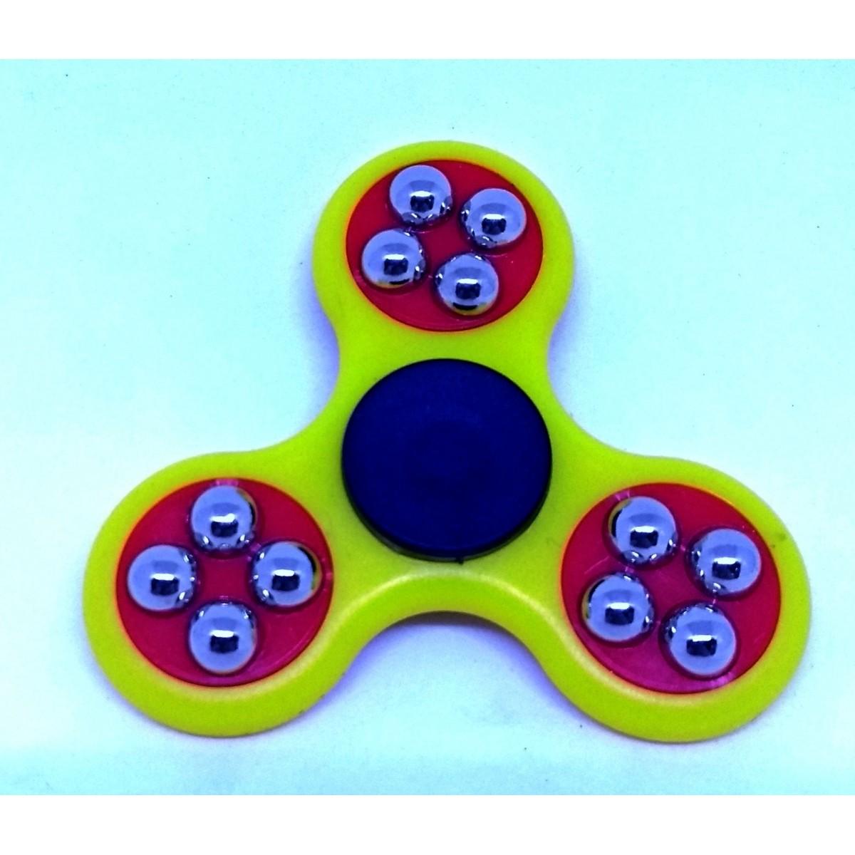 Hand Spinner com bolinhas Amarelo e Vermelho - Rolamento Anti Estresse Fidget Hand Spinner