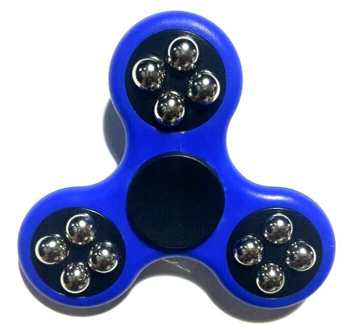 Hand Spinner com bolinhas Azul e Preto - Rolamento Anti Estresse Fidget Hand Spinner