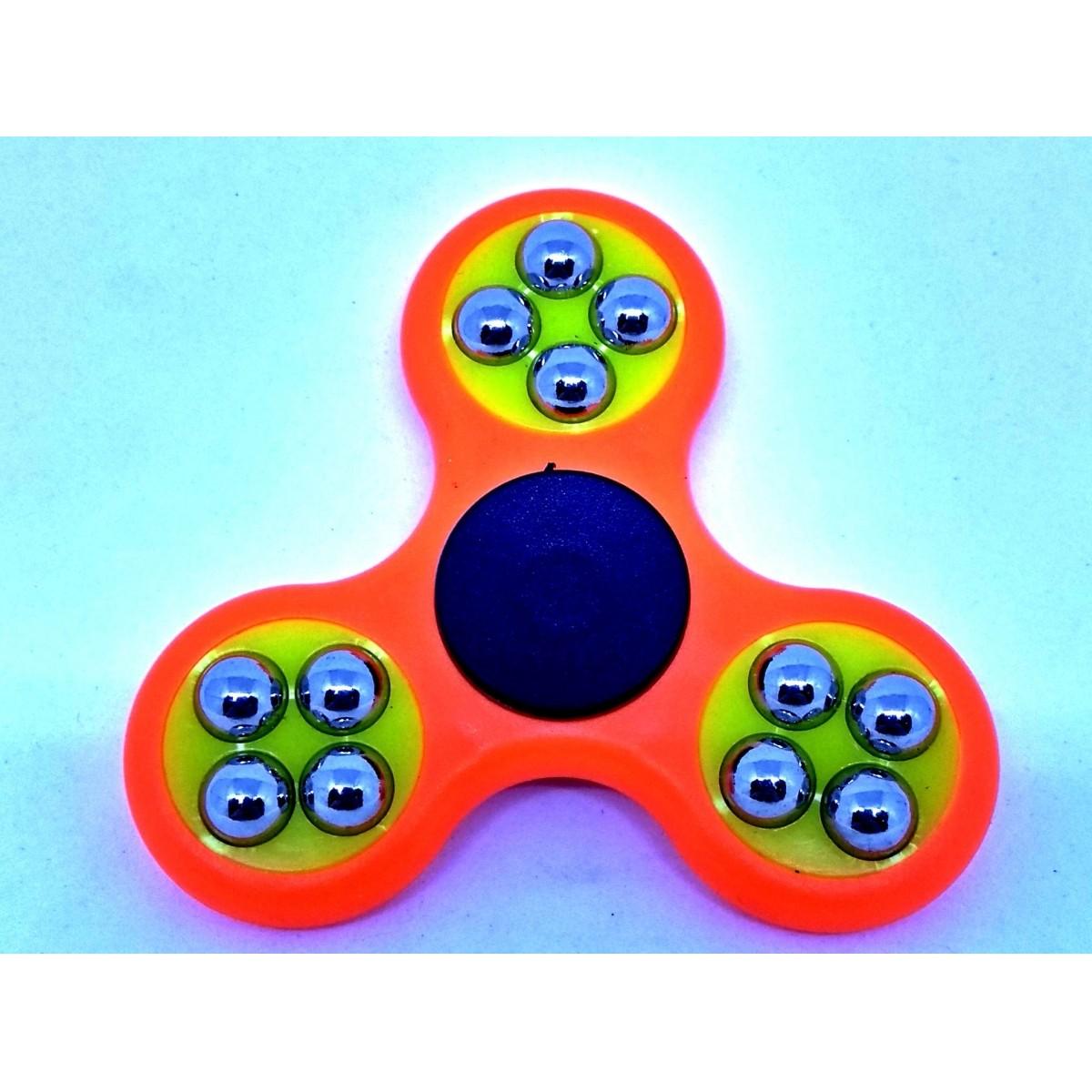 Hand Spinner com bolinhas Laranja e Amarelo - Rolamento Anti Estresse Fidget Hand Spinner