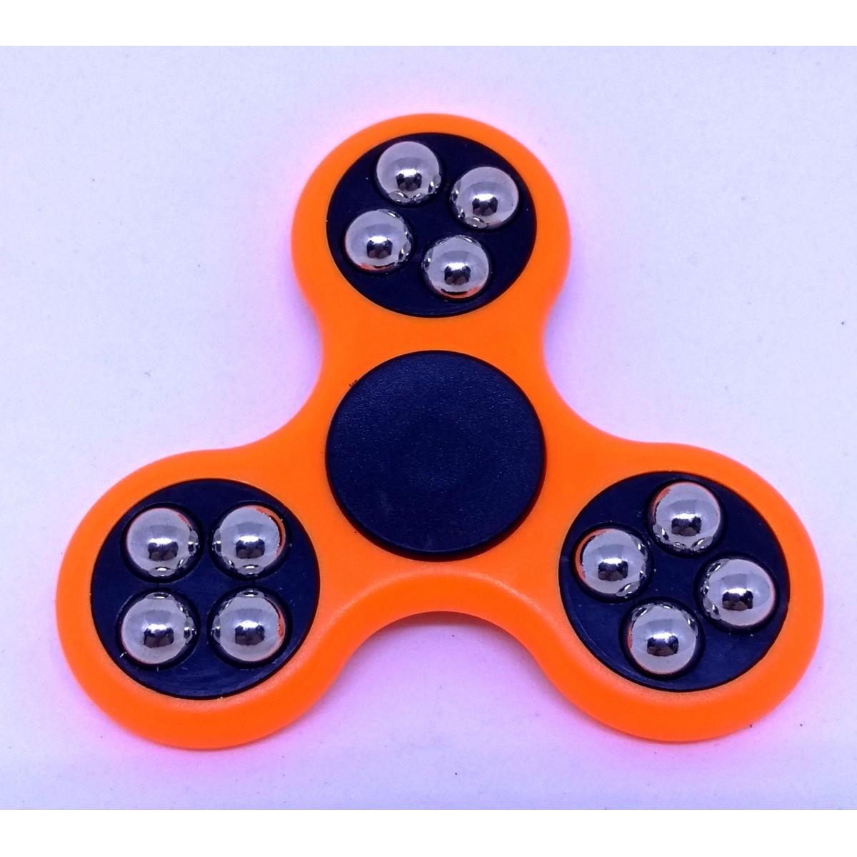 Hand Spinner com bolinhas Laranja e Preto - Rolamento Anti Estresse Fidget Hand Spinner