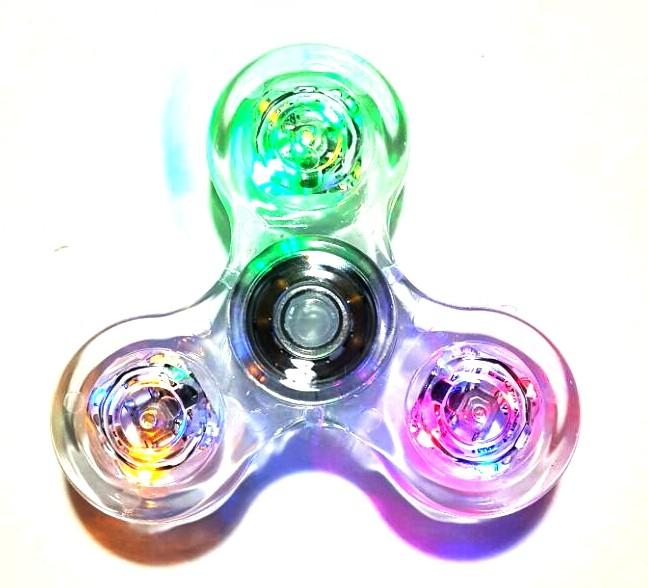 Hand Spinner com Led Transparente - Rolamento Anti Estresse Fidget Hand Spinner