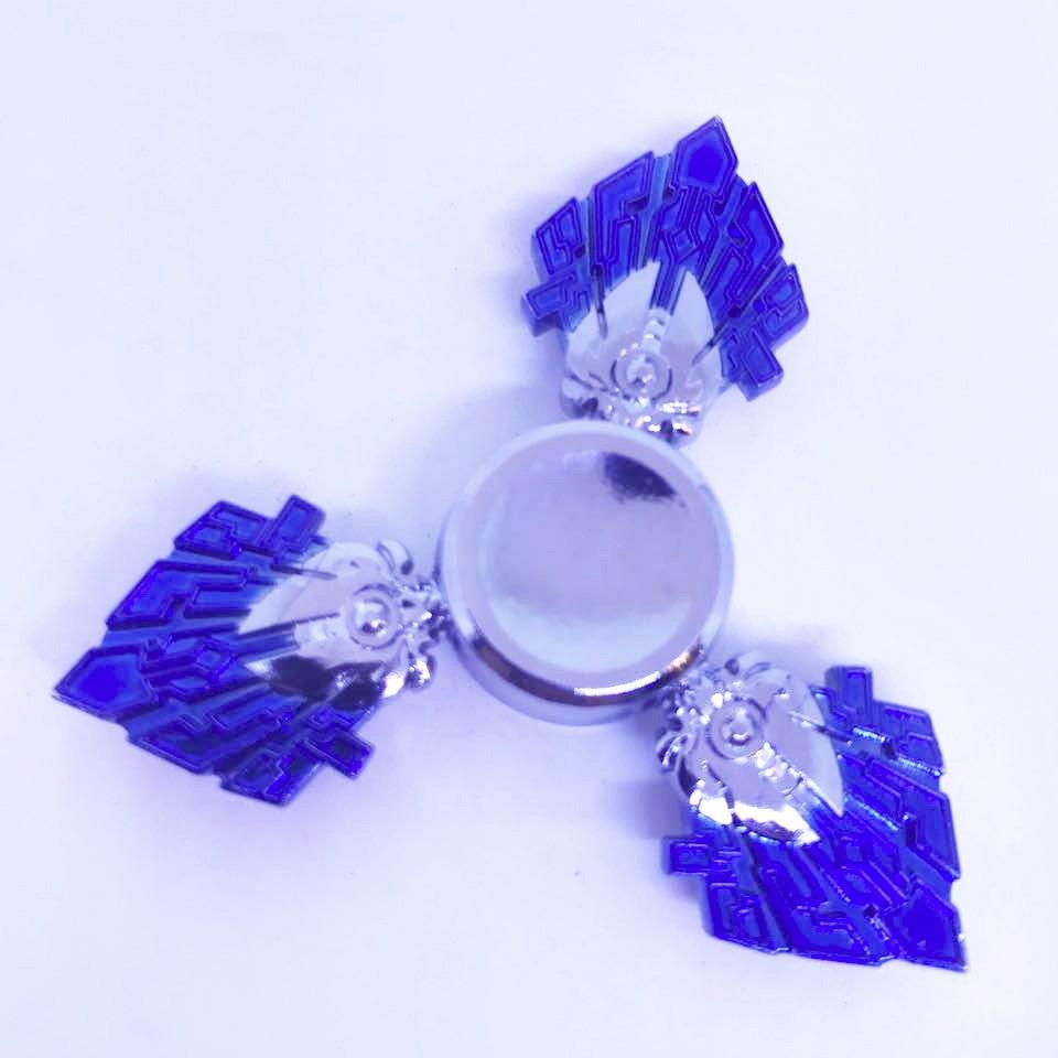Hand Spinner Cristal Prata e Azul - Rolamento Anti Estresse Fidget Hand Spinner
