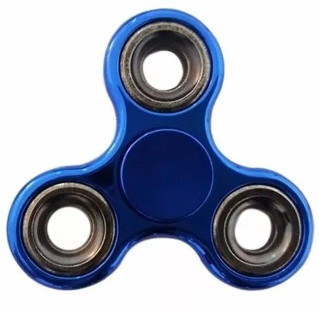 Hand Spinner Cromado Azul METAL -  Mega ROTAÇÃO