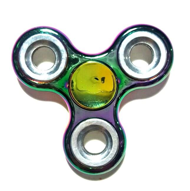 Hand Spinner Cromado Colorido com anel Prata  - Rolamento Anti Estresse Fidget Hand Spinner