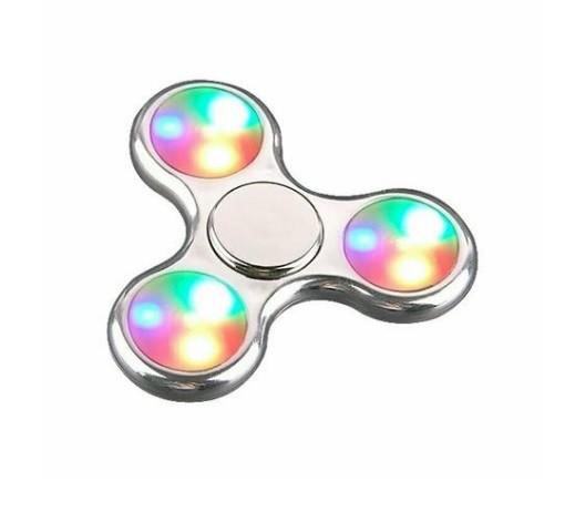 Hand Spinner Cromado com LED Prata - Rolamento Anti Estresse Fidget Hand Spinner