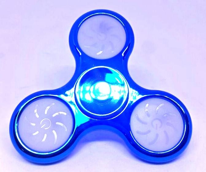 Hand Spinner Cromado com LED Azul - Rolamento Anti Estresse Fidget Hand Spinner