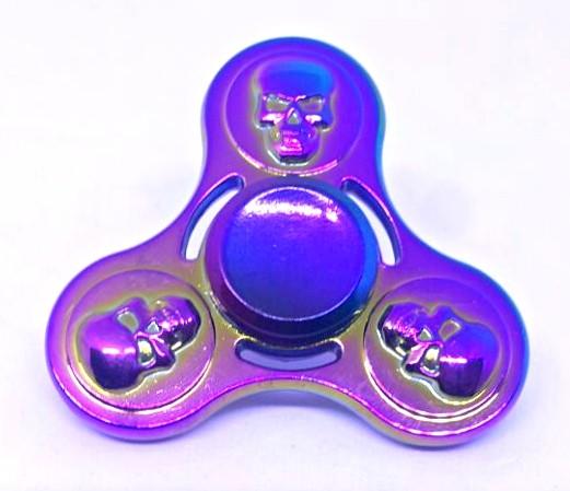 Hand Spinner de Metal Caveira Colorido - Rolamento Anti Estresse Fidget Hand Spinner