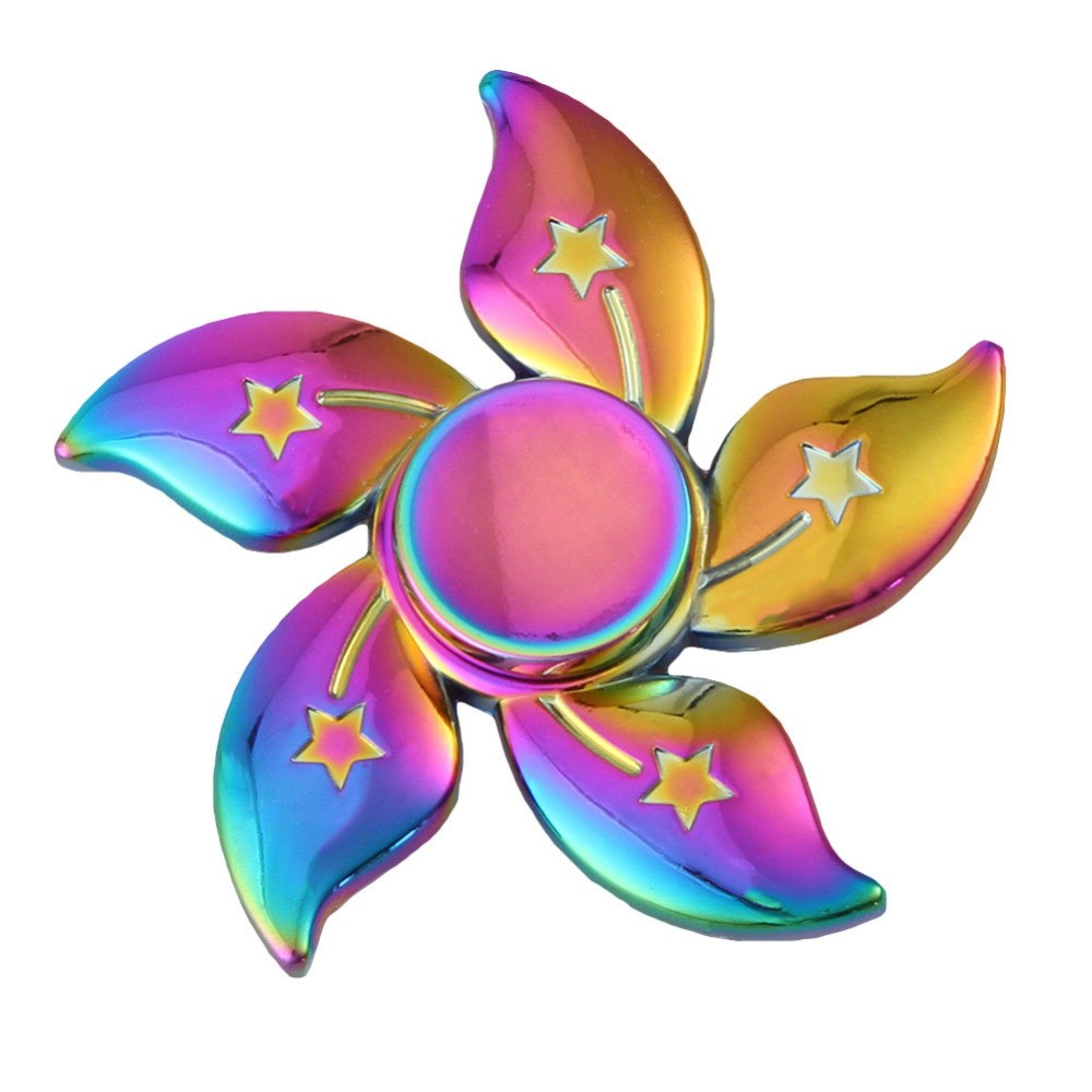 Hand Spinner de Metal Colorido Flor - Rolamento Anti Estresse Fidget Hand Spinner