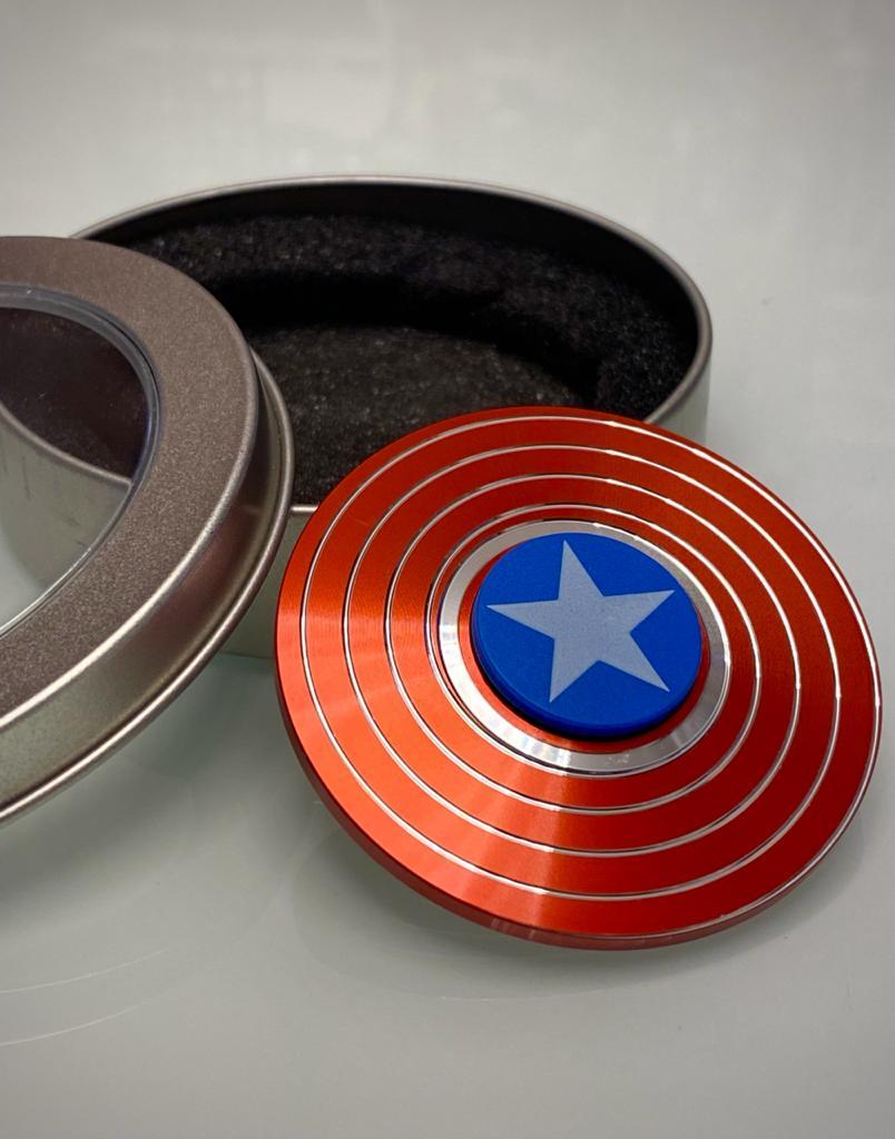 Hand Spinner de Metal Escudo Capitão América - Rolamento Anti Estresse Fidget Pop Tube Stress Ball Wacky Track  SquishMallow Hand Spinner