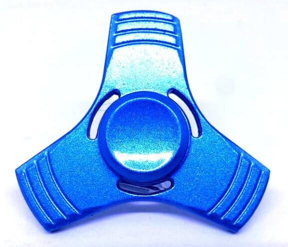 Hand Spinner de Metal Liso Azul com furo - Rolamento Anti Estresse Fidget Hand Spinner